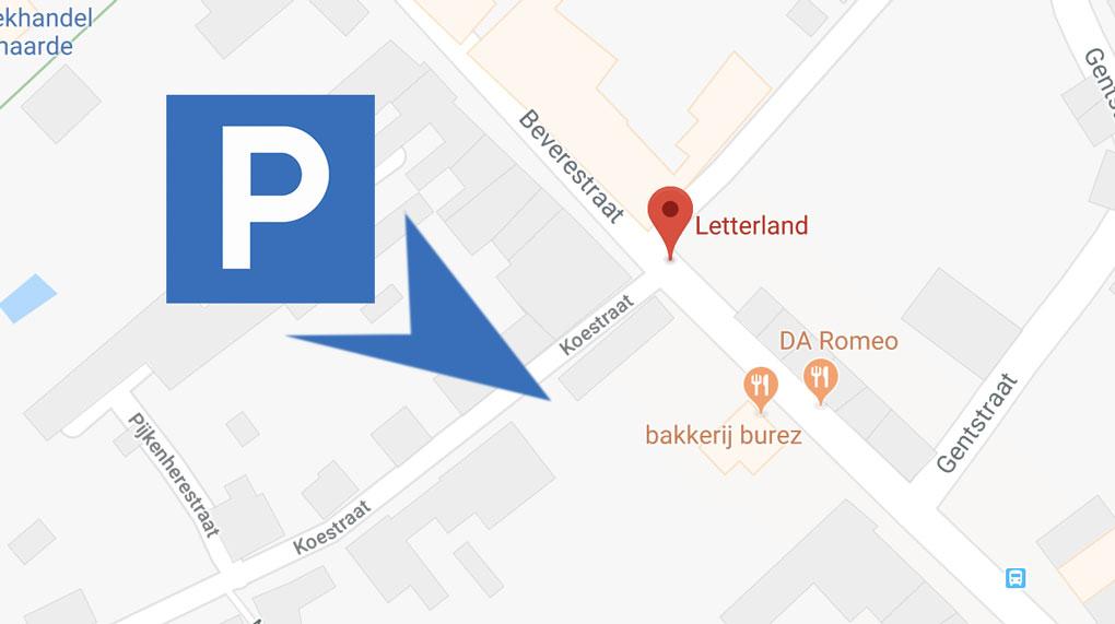 Kaartje met aanduiding gratis parking bij Letterland Oudenaarde